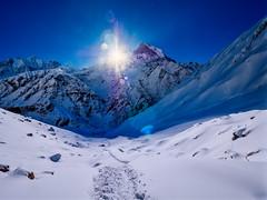Sunrise over Machapuchare Mountain (Fishtail), Nepal (CamelKW) Tags: abc annapurnabasecamptrek annapurnaregiontrek annapurnasanctuary fishtail kathmandu mbc machapuchare machapucharebasecamp nepal pokhara trekking