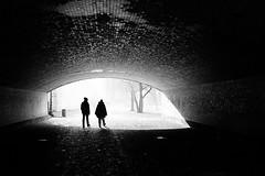 Into the sun (Birdhouse camper) Tags: berlin tunnel street silhouettes fujifilm fuji fujifilmx100s blackandwhite blackwhite