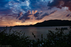 Cotton Candy Sunset (jcl8888) Tags: guanaja honduras ocean serene mountains hills travel peaceful caribbean sea teal blue pink purple orange rugged view clouds cottoncandy dark edgeofnight