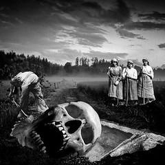 Giant (Flamenco Sun) Tags: bizarre pafab field excavation dig grave buried giant skull odd disturbing dark weird surreal surrealist