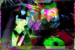 divided / Artist : Jade Yu Fhang (Off till18th/Bamboo Barnes - Artist.Com) Tags: jadeyufhang surreal art installation exhibition digitalart virtualart photo painting vivid colour pink yellow green red woman girl black blue darktears secondlife