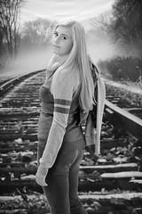 Beauty on the rails (R.A. Killmer) Tags: kayla blackandwhite railroad track jeans attitude portrait pose senior seniorphotos girl cute bethelpark