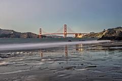Golden Gate from China Beach (Daniel Schwabe) Tags: nightlight reflection bridge beach ocean longexposure le chinabeach sanfrancisco california ca travel tourism goldengate usa