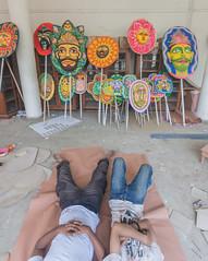 Behind the Scene (zayembin.tajdid) Tags: color colorful dhaka univesity bangladesh bangladeshi culture new year celebration festival festive people man rest tired pohela boishakh mask charukola fine art academy 2017 1424 wide shot photography photo still life hard work