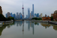 Shanghai - Morning at Suzhou Creek (cnmark) Tags: china shanghai garden bridge 外白渡桥 pearl orient pearloftheorient tv tower swfc world financial center centre building reflection reflections suzhou creek wusong river 苏州河 吴淞江 lujiazui jin mao shanghaicenter modern architecture skyscraper tall supertall towers hochhaus cityscape wolkenkratzer gratteciel grattacielo rascacielo arranhacéu gebäude 金茂大厦 上海环球金融中心 上海中心大厦 中国 上海 浦东 陆家嘴 摩天大楼 city skyline 上海中心 大厦 ©allrightsreserved