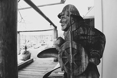Fisherman B&W - Vancouver, Canada (The Web Ninja) Tags: vancouver yvr travel vancity canon canon70d 70d photo photography photograph bc british columbia canada canadian explore explorebc explored fisherman wood sculpture black white bw blackwhite false creek falsecreek harbour harbor