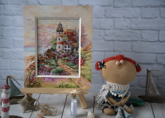 I dream of the sea ... (Button-NK) Tags: embroidery crossstitch stilllife sea lighthouse doll hobby crafts seashells