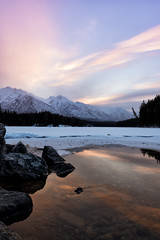 Frostbitten Sunrise (Kristin Repsher) Tags: alberta banff banffnationalpark canada canadianrockies clouds d750 frozen johnsonlake lake longexposure mountains nikon rockies rockymountains sunrise winter