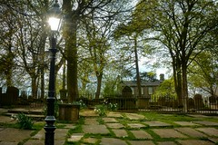 Late Spring Afternoon in Haworth (vesna1962) Tags: cemetery churchyard parsonage graves lamp sun sunrays spring afternoon late haworth brontecountry brontesisters westyorkshire england scenery