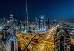 Dubai Skyline at Night (JSP92) Tags: meandtheviewat42 dubai burj khalifa tallest building world architecture night shangri la hotel traffic trails light