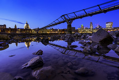 Reflecting Twins (JH Images.co.uk) Tags: london stpauls cathedral millenniumbridge bridge hdr dri puddle reflection night dusk blue hour rocks low tide architecture city