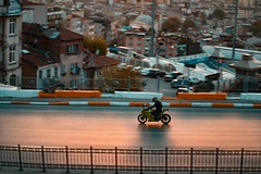 Sunset Ninja (WeekendPlayer) Tags: ninja pan panning panshot city life motor urban urbanlife drive biker bike kawasaki kawasakininja sun sunset minaret mosque buildings apartmen street istanbul tr turkey