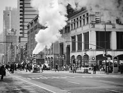 Smoke Stack on 8th (paleyphotos) Tags: street urban newyork nyc new york blackandwhite black white bw landscape cityscape manhattan hells kitchen architecture buildings avenue