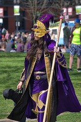 Interesting Costume (swong95765) Tags: outfit costume man attire presentation scepter cape mask longhair hat unusual different
