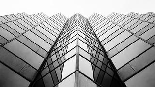 Osaka skyscraper in black and white
