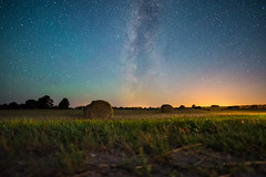 Field With Hay Bales Under The Milky Way (free3yourmind) Tags: field hay bales under milky way night sky stars belarus grass galaxy harvest summer