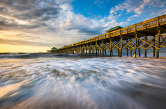 Folly Beach SC Pier Charleston South Carolina Seascape (Dave Allen Photography) Tags: charleston follybeach sc southcarolina pier water beach coast coastal seascape folly nature seashore atlantic ocean landscape daveallen nikon sunrise morning goldenhour eastcoast longexposure waves outdoors