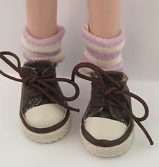 Short Lavender and Ivory Socks For Blythe...
