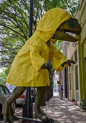 ready for anything (Brinkervelt.) Tags: yellow dinosaur raincoat trex cmwd cmwdyellow funny humorous unexpected
