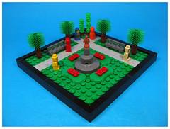 Parkland (Karf Oohlu) Tags: lego moc vignette microscale microfig park parkland bench parkbench topiary statue