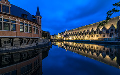 Mirror effect (Enrique EKOGA) Tags: mirror water reflection reflexion lys leie bluehour clouds oldcity old buildings symmetry lights ultrawideangle nikon d800e tokina 16mm manfrotto city travel belgium belgique gand ghent longexposure architecture