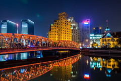 Waibaidu Bridge (asusmt) Tags: bridge night city cityscape shanghai building architecture ancient old steel river reflection modern travel asia longexposure spring