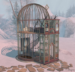 Home? (Kat Feldragonne) Tags: secondlife virtual landscape outdoor winter birdcage house spiral dirtygrind
