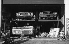 * (Johuhe) Tags: classic cars stallion garage stacked headlights full analog film leica m2 kodak tmax 100 xtol monochrome bw black white epson v500
