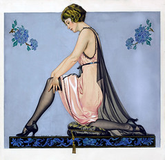 Holeproof Hosiery Company ad illustration by Coles Phillips, 1922 (Tom Simpson) Tags: holeproofhosierycompany ad illustration colesphillips 1922 stockings lingerie nylons thighhighs heels art painting pinup pinupart 1920s vintage woman girl
