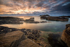 Godrevy (T_J_P) Tags: cornwall godrevy lighthouse rocks shore sunset clouds sea