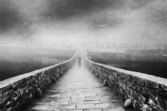 Alone in the fog (www.streetphotography-berlin.com) Tags: pontedellamaddalena lucca italy devils bridge tuscany man alone fog foggy day street streetphotography streetlife blackandwhite blackwhite impressionist impressionism