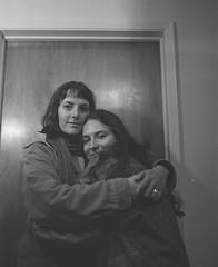 Heather & I (kyndrasged) Tags: mamiyarb67 kodaktmax400 120 mediumformat friends self bw portrait