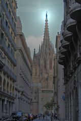 Catedral de Barcelona, Spain (Jwaan) Tags: cathedral barcelona spain gothic people tiltshift render steeple city europe travel