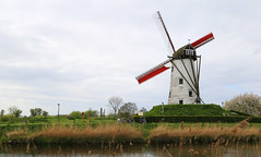 Damme Windmill (ChristineGibbs, getting to know my new camera!) Tags: canon eos eos6 canon24105mm belguim flanders damme canal windmill westflanders