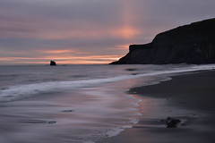 From Here to Eternity (Malajusted1) Tags: saltwick bay whitby yorkshire north york moors sea coast sunrise weather clouds waves reflections sun rays silhouette shadows blacknab stack ebb undertow sand light