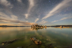 Mono Lake Moonlit Night Reflection (Jeffrey Sullivan) Tags: mono lake starry night photography reflection clouds south tufa state natural reserve moonlit moonlight leevining california usa easternsierra monocounty nature landscape travel rock formations