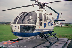 G-PASX, Police Aviation Services/Sussex Police, BOLKOW BO 105DBS-4, EGKA/ESH (360THz Images) Tags: sussex airport brighton police helicopter 1990 shoreham eurocopter mbb bo105 bolkow esh egka gpasx