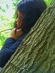 Leila Up Against Tree (JonathanBohemian23) Tags: black tree cute against girl up standing dark hair long pretty profile young leila