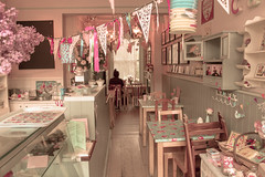 Bake-A-Boo Tearoom (elise hedges) Tags: pink flowers flower color colour floral beautiful yellow cake canon vintage table lunch photography eos baking petals cafe pattern purple tulips personal tea lace feminine vibrant pastel edited faded cupcake tablecloth tearoom afternoontea polkadot lilys bunting ravensbourne 500d 2013 bakeaboo elisehedges