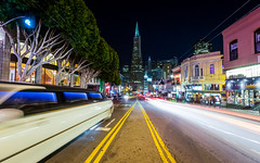 Stretch (tobyharriman) Tags: pictures sf sanfrancisco california park city longexposure night canon photography limo clear bayarea pacificnorthwest intersection transamerica 2012 cartrails benro induro tobyharriman cornoaheights