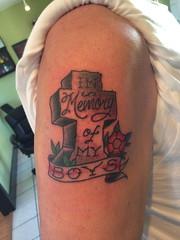 cross memorial tattoo (keenanbouchard) Tags: cross memorialtattoo traditionaltattoo clocktattoo