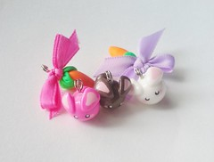 Bunny and carrots Charms (Kikums) Tags: cute rabbit bunny jewelry clay kawaii charms
