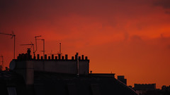 Burning Sky over Paris Chimneys () Tags: old roof sunset red summer chimney sky orange cloud holiday paris france silhouette skyline dark evening daylight warm europe purple pentax cloudy wide violet k5 1770mm