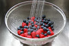 IMG_8627 (Nancy Rose) Tags: water fruit stainlesssteel sink fresh cleaning raspberries washing blueberries strainer colonder