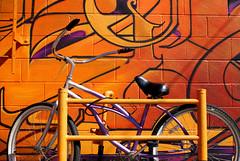 Bike Behind Graffiti (See El Photo) Tags: california street city urban 15fav favorite orange streetart color bike outside outdoors graffiti colorful purple grafiti graf wheels transport urbanart melrose transportation fav graff locked grafite faved 涂鸦 beachcruiser граффити 落書きգրաֆիտի