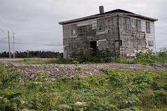 Square House (conSTRUKT) Tags: old house green abandoned broken newfoundland square decay powerlines vegetation derelict northernpeninsula