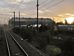 Southall London 18th October 2013 (loose_grip_99) Tags: uk railroad england london train sunrise october br pacific transport shed rail railway trains steam depot railways brit southall britannia gwr mpd britishrailways 70000 greatwestern 462 2013 uksteam gassteam