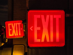 Double exit strategy (DobingDesign) Tags: nyc light red usa newyork night neon double nightlight empirestatebuilding exit confusion wayout thisway whichway exitstrategy makeupyourmind