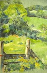 Country stile (amanda.parker377) Tags: walking countryside stile pasteldrawing englishlandscape ingrespaper derwentpastel