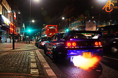 Goodness gracious great balls of fire! (AdamC3046) Tags: london cars car skyline fire nissan flames flame modified tuner r33 exhaust modded developments gtr tuned kream 2013 worldcars